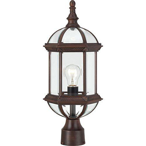 Lanterne d'extérieur à 1 ampoule bronze rustique - 8 pouces