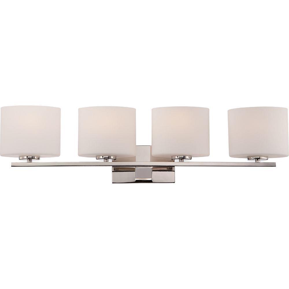 Filament Design Luminaire de meuble-lavabo à 4 ampoules au fini nickel poli - 32,63 pouces
