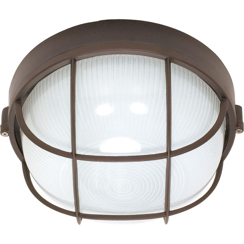 Filament Design 1-Light Architectural Bronze Outdoor Wall Lantern with Frost White Shade