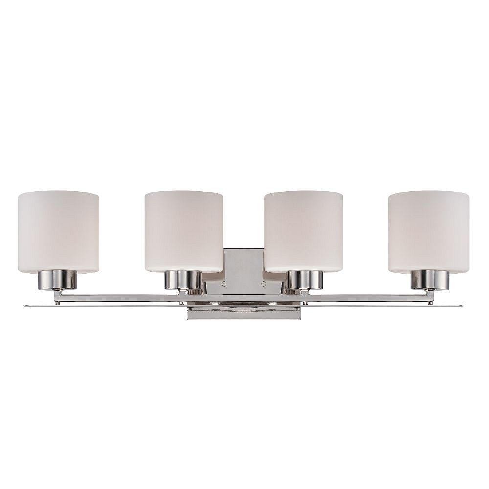 Filament Design 4-Light Polished Nickel Bath Vanity Light - 7.75 inch