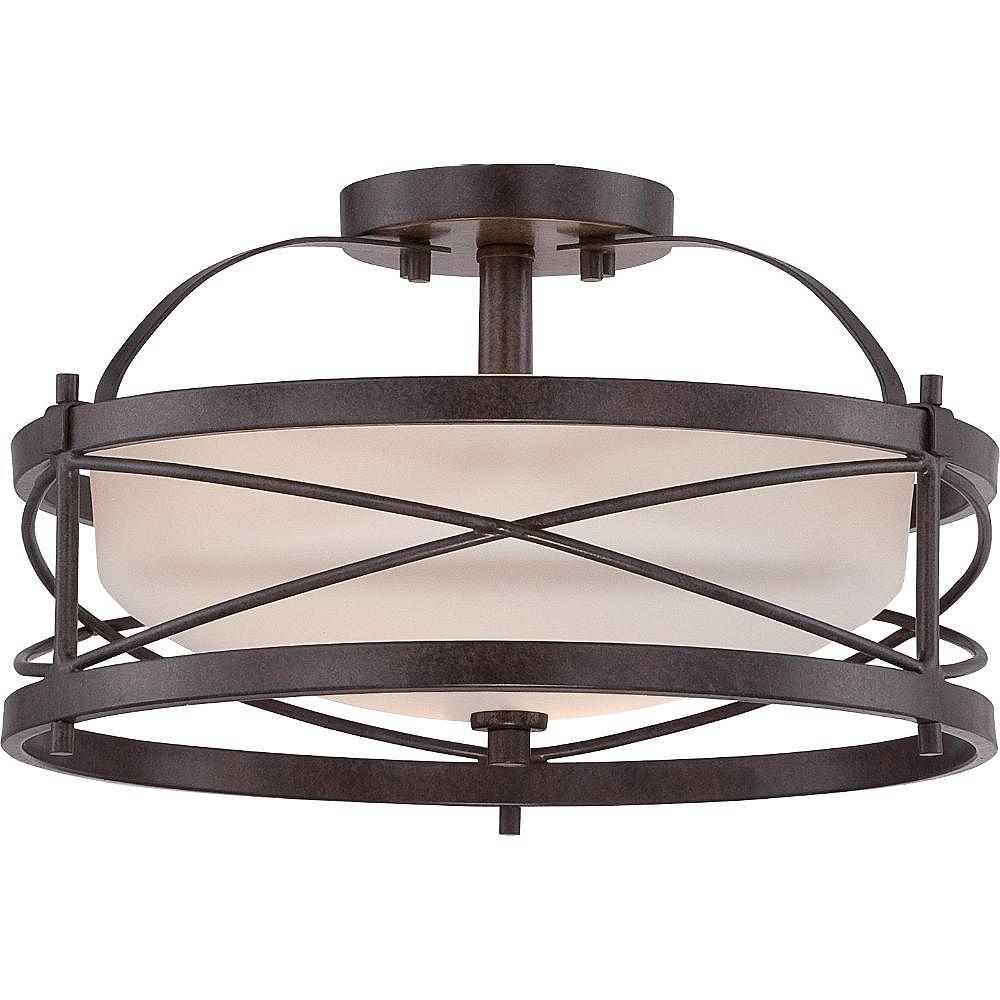 Filament Design Semi-plafonnier à 2 ampoules au fini bronze antique - 8,25 pouces