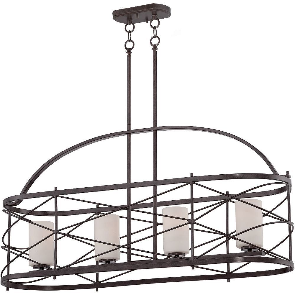 Filament Design Luminaire suspendu bronze à 4 ampoules