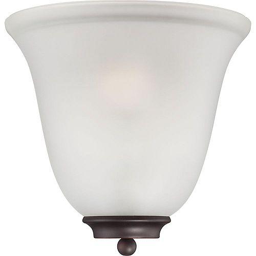 Applique murale à 1 ampoule bronze acajou avec verre givré - 10 pouces