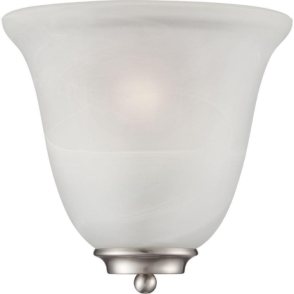 Filament Design Applique murale à 1 ampoule en nickel brossé avec verre albâtre - 10 pouces