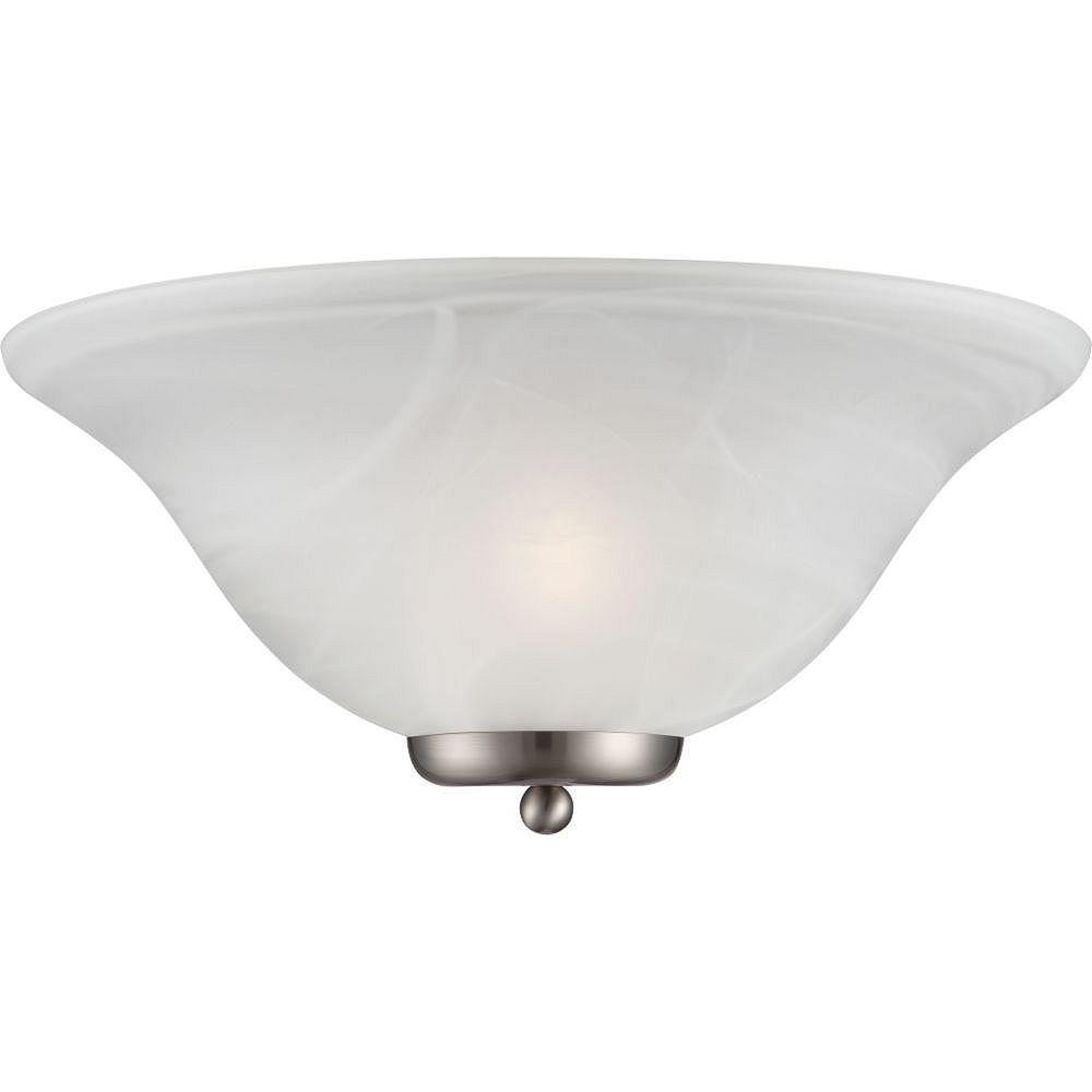 Filament Design Applique murale à 1 ampoule en nickel brossé avec verre albâtre