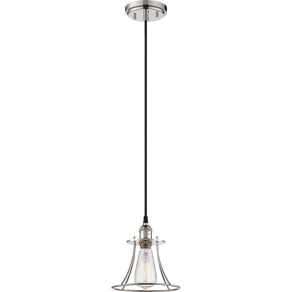 Filament Design Luminaire suspendu à 1 ampoule en nickel poli - 8,25 pouces