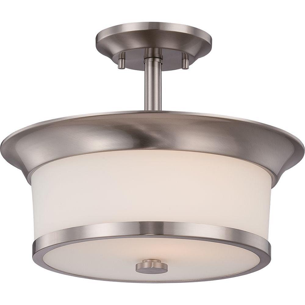 Filament Design Plafonnier semi-encastré à 2 ampoules, nickel brossé - 10,25 pouces