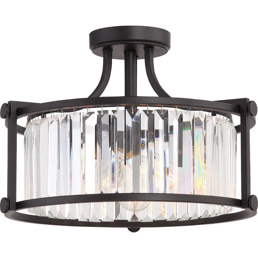 Filament Design Semi-plafonnier à 3 ampoules en bronze vieilli - 12,13 pouces