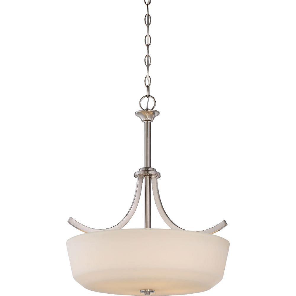 Filament Design Luminaire suspendu à 4 ampoules en nickel brossé - 19,5 pouces