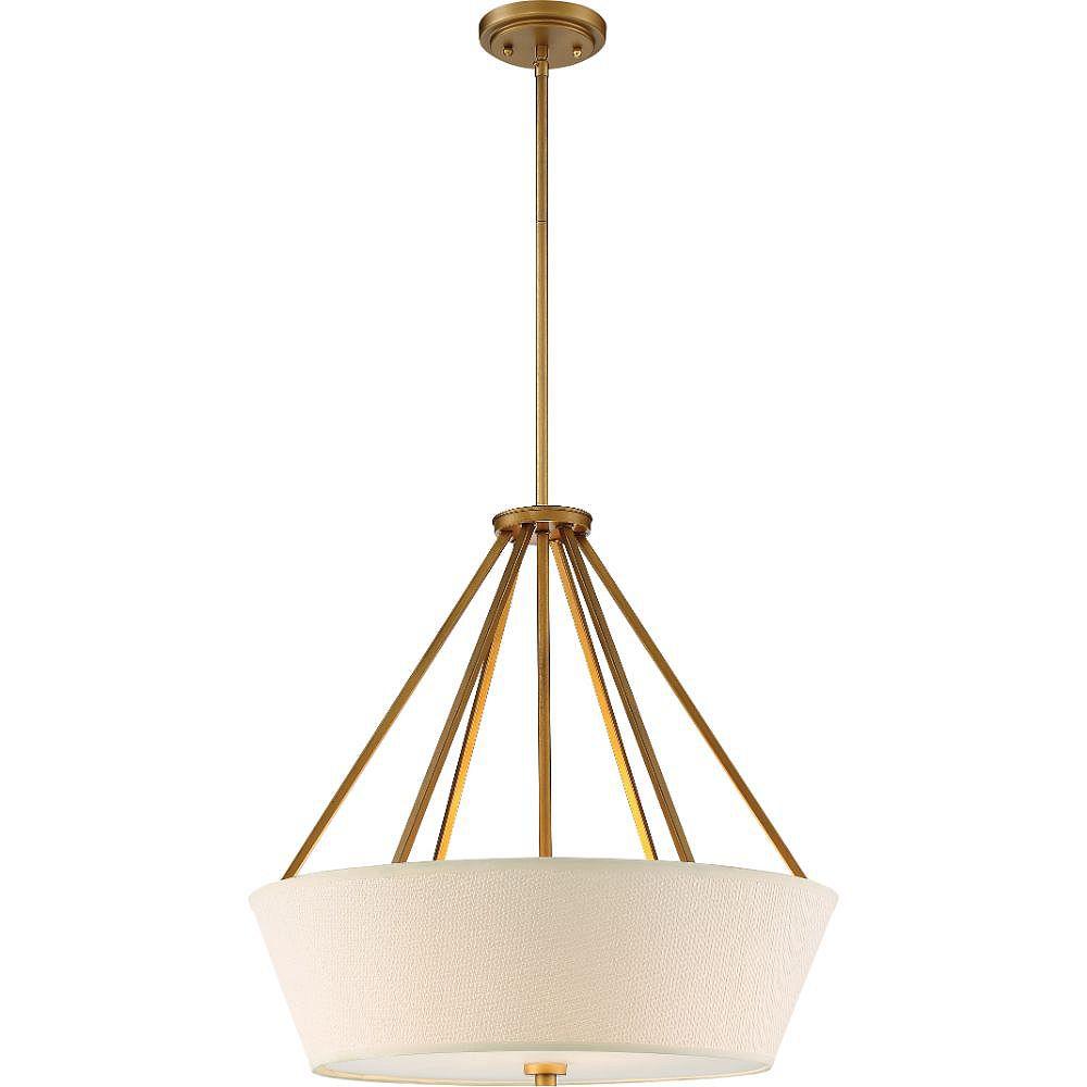 Filament Design Luminaire suspendu à 4 ampoules en laiton naturel - 22 pouces