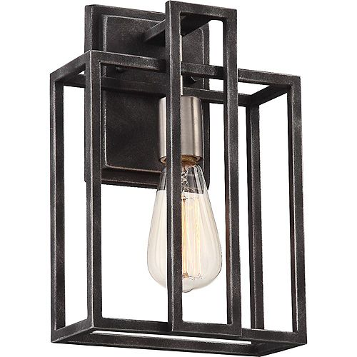 Filament Design 1-Light Iron Black and Brushed Nickel Accents Wall Sconce - 8 inch