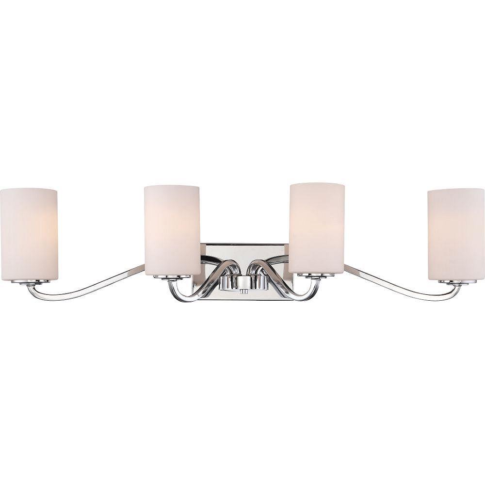 Filament Design Luminaire de vanité de salle de bain à 4 ampoules en nickel poli - 34 pouces