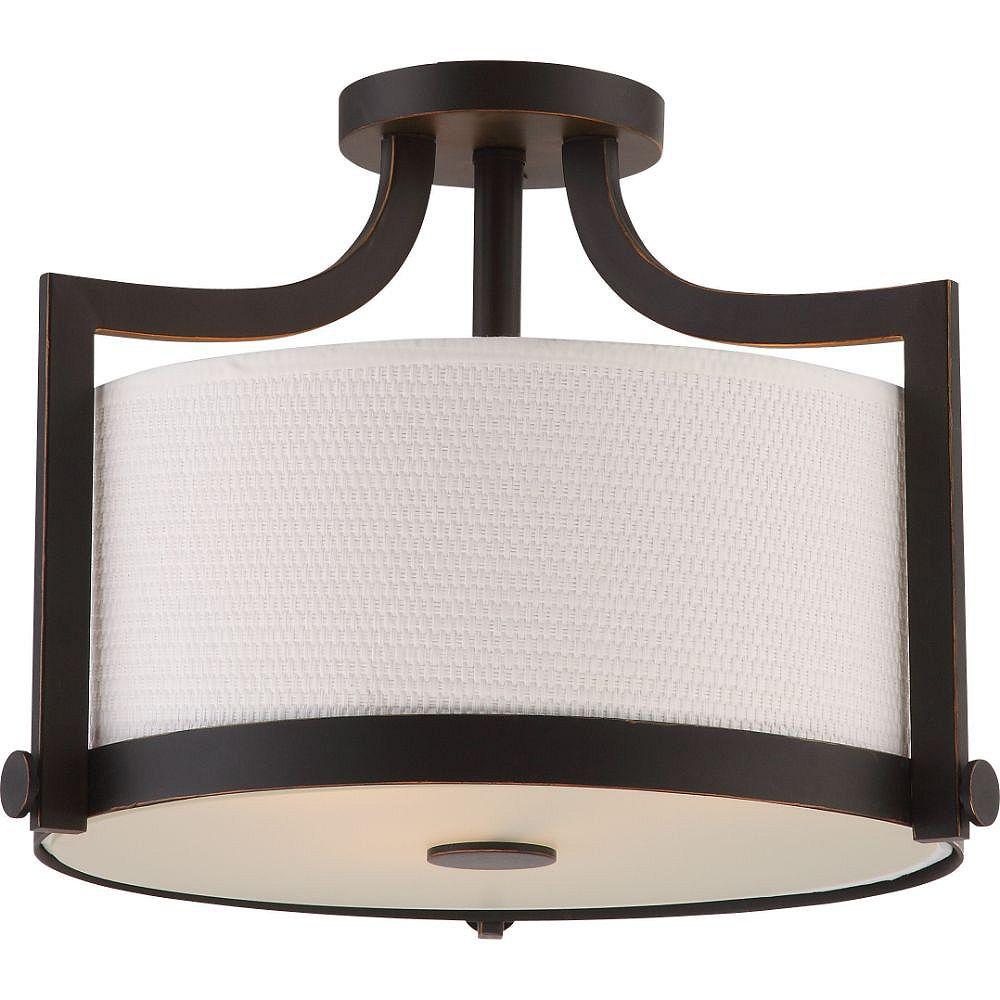 Filament Design 3-Light Russet Bronze Semi-Flush Mount