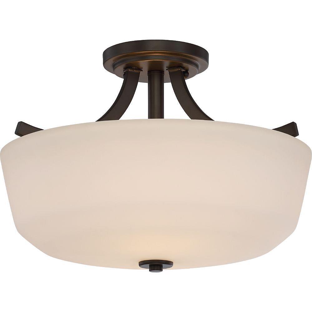 Filament Design Semi-plafonnier à 2 ampoules au fini bronze forestier - 15,25 pouces