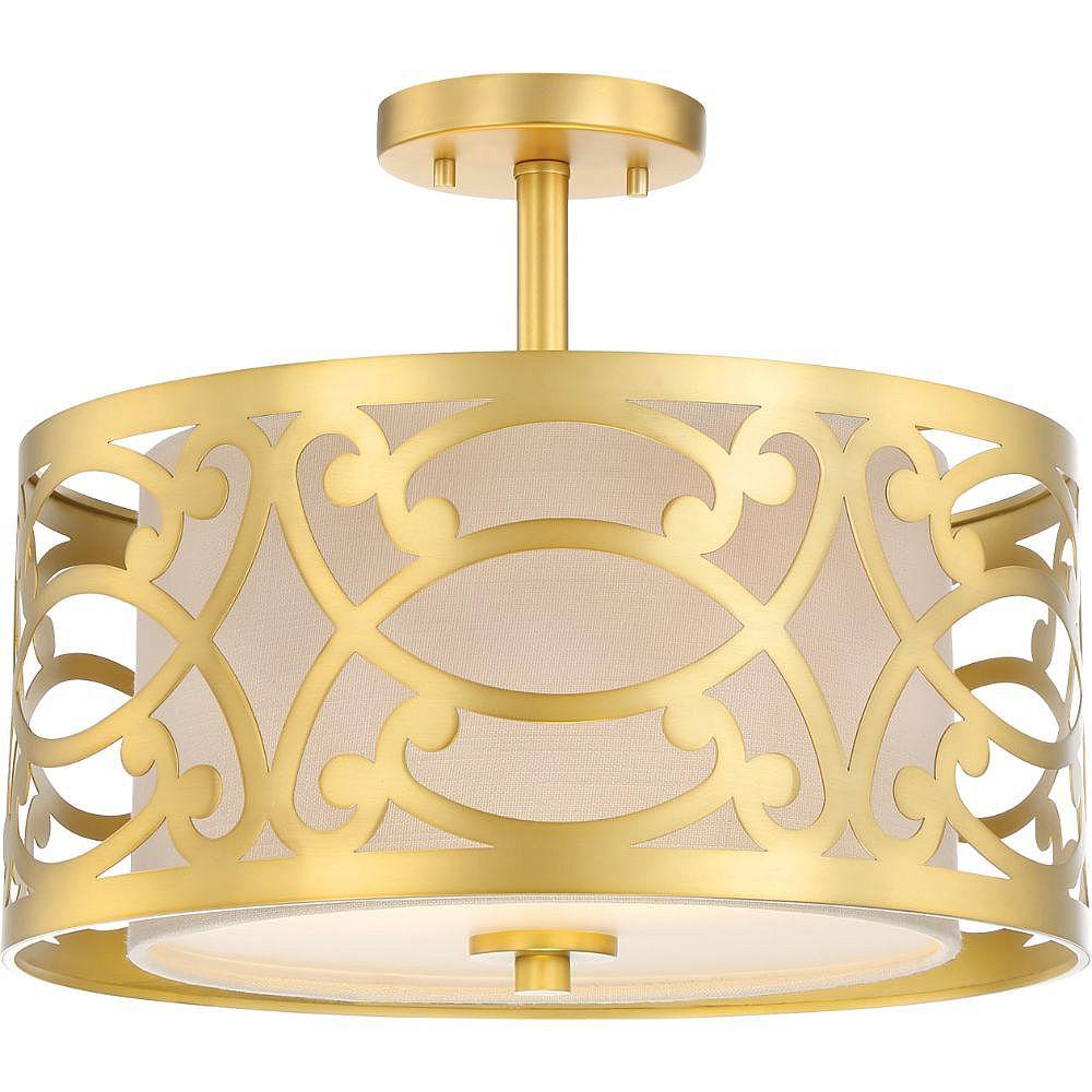 Filament Design Semi-plafonnier à 2 ampoules en laiton naturel - 12,5 pouces