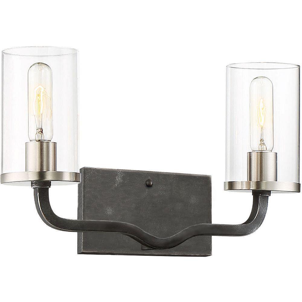 Filament Design Applique de salle de bain à 2 ampoules au fini fer noir et nickel brossé