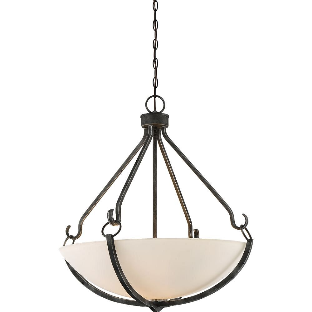 Filament Design 4-Light Iron Black and Brushed Nickel Accents Pendant - 25.88 inch