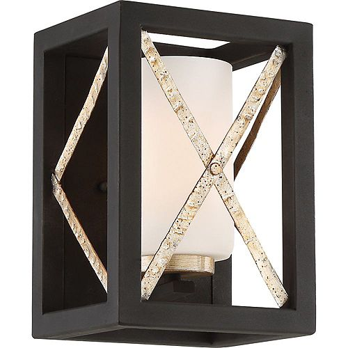Filament Design 1-Light Matte Black and Antique Silver Accents Wall Sconce