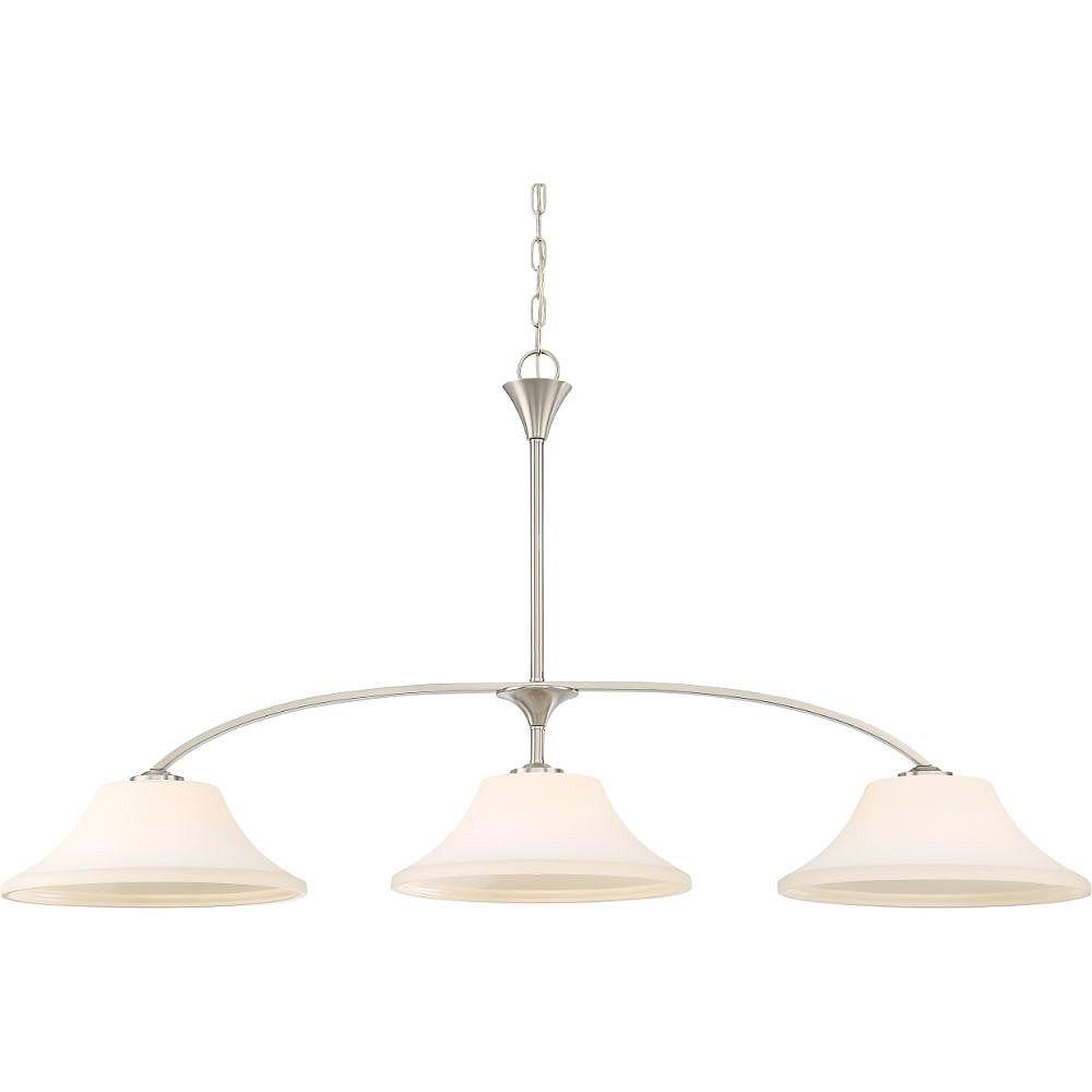 Filament Design Luminaire suspendu à 3 ampoules, nickel brossé - 48,5 pouces
