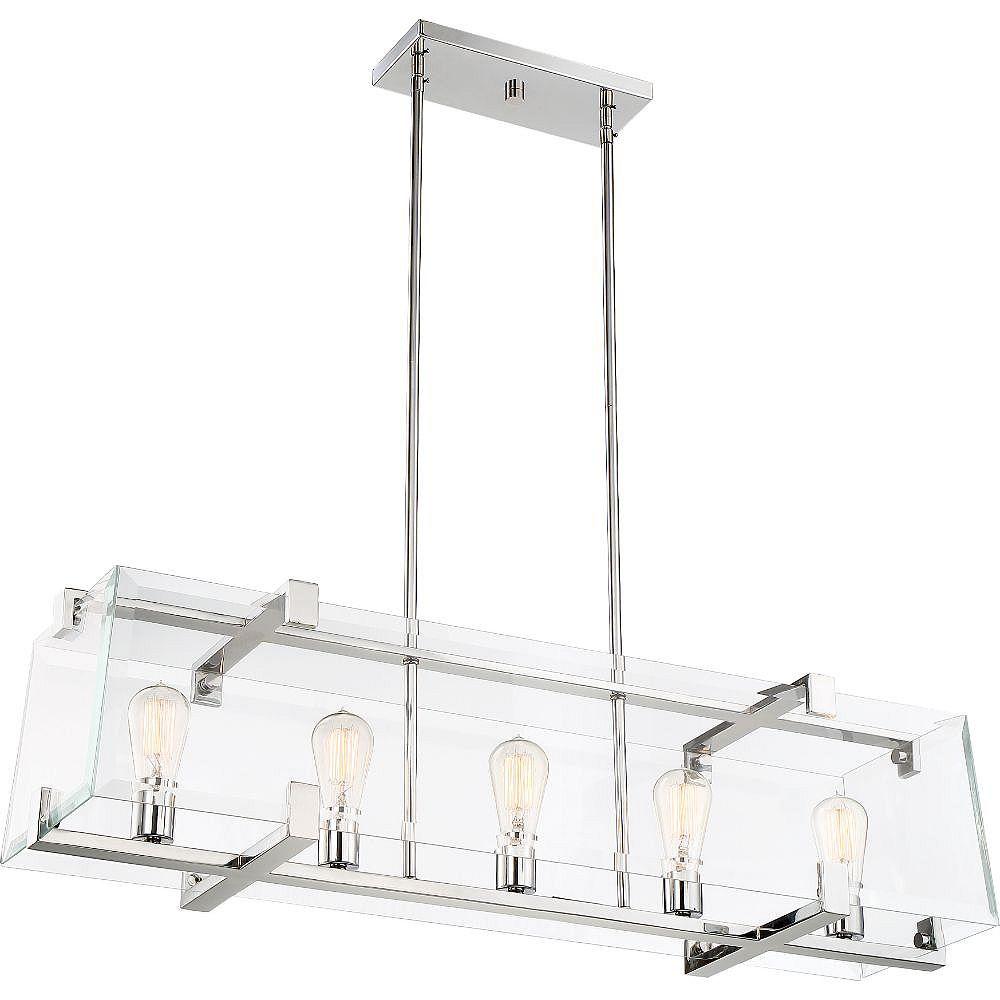 Filament Design Luminaire suspendu à 5 ampoules en nickel poli - 9,63 pouces
