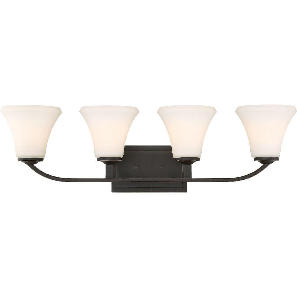 Filament Design Luminaire de vanité de salle de bain à 4 ampoules en bronze acajou - 8,75 pouces