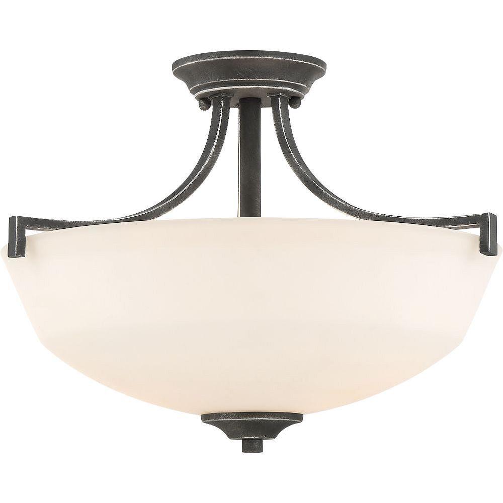 Filament Design Semi-plafonnier à 2 ampoules, fer noir