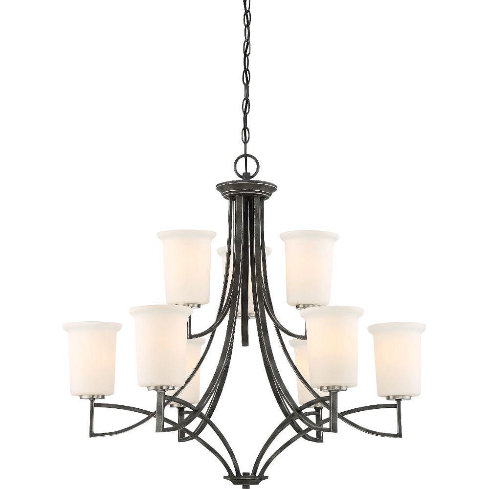 Filament Design Lustre en fer noir à 9 ampoules