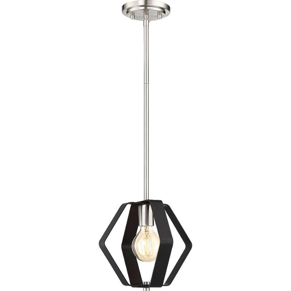 Filament Design Luminaire suspendu à 1 ampoule noir mat et nickel brossé - 50,5 pouces