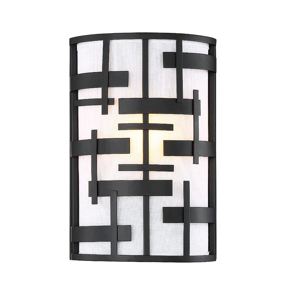 Filament Design Applique murale noire texturée à 2 ampoules avec abat-jour en tissu blanc