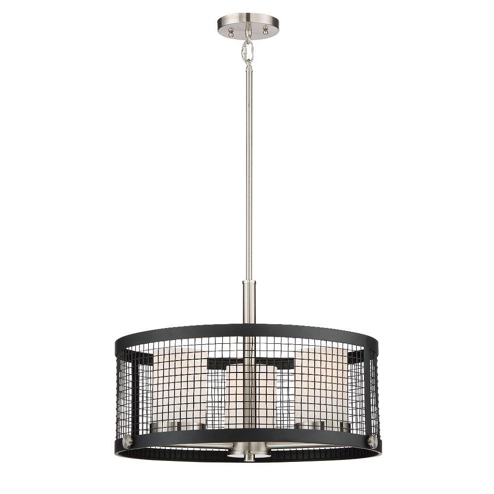 Filament Design Luminaire suspendu à 3 ampoules noir et nickel brossé