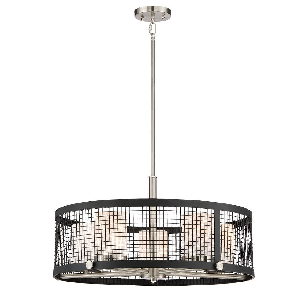Filament Design 5-Light Black and Brushed Nickel Accents Pendant