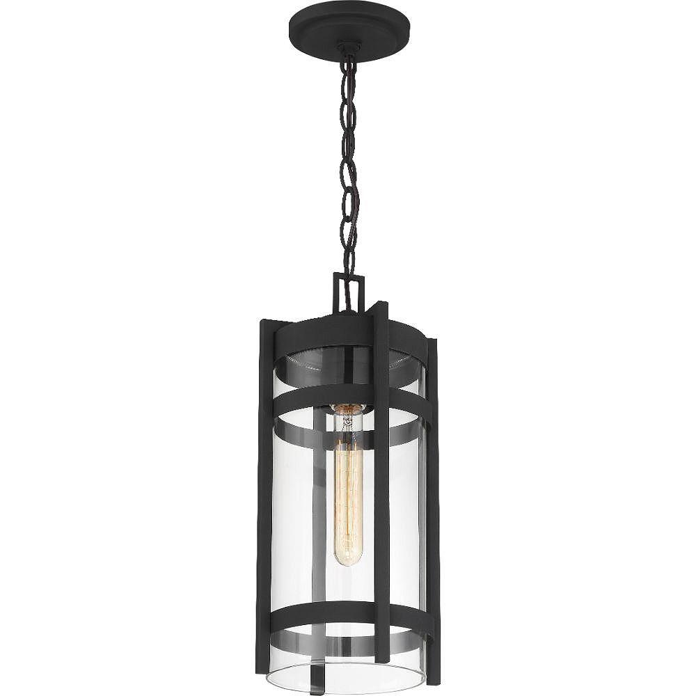 Filament Design Lanterne suspendue d'extérieur à 1 lumière, texturée, noire et claire