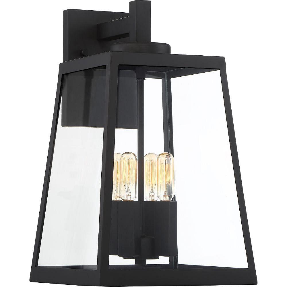 Filament Design 4-Light Matte Black and Glass Outdoor Wall Lantern