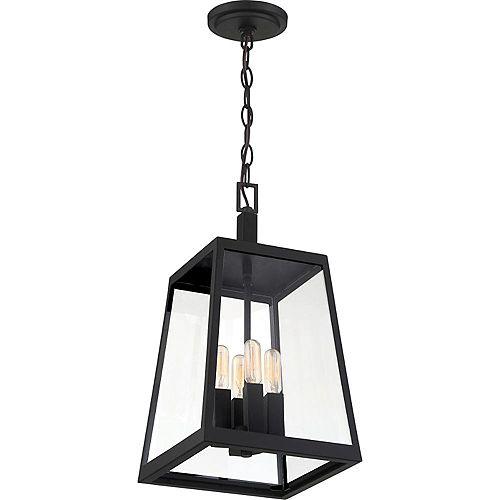 Lanterne suspendue d'extérieur à 4 ampoules en noir mat et en verre