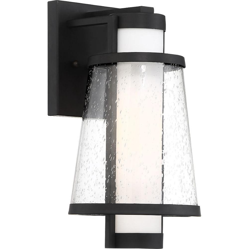 Filament Design 1-Light Matte Black and Glass Outdoor Wall Lantern - 7.38 inch