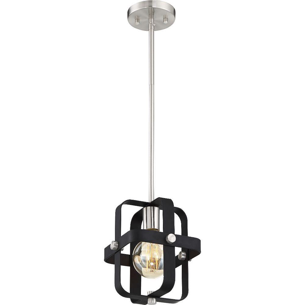 Filament Design 1-Light Matte Black and Brushed Nickel Pendant - 8 inch