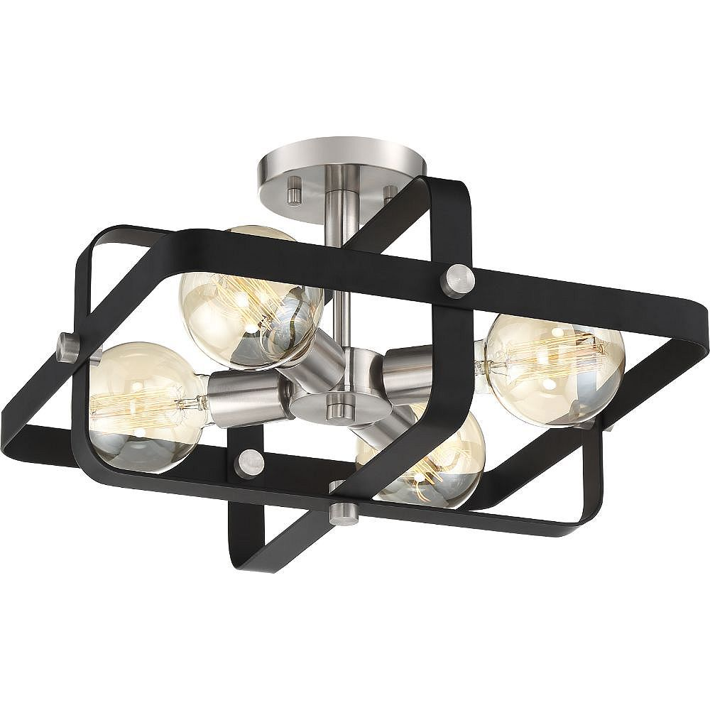 Filament Design Plafonnier à 4 ampoules noir mat et nickel brossé
