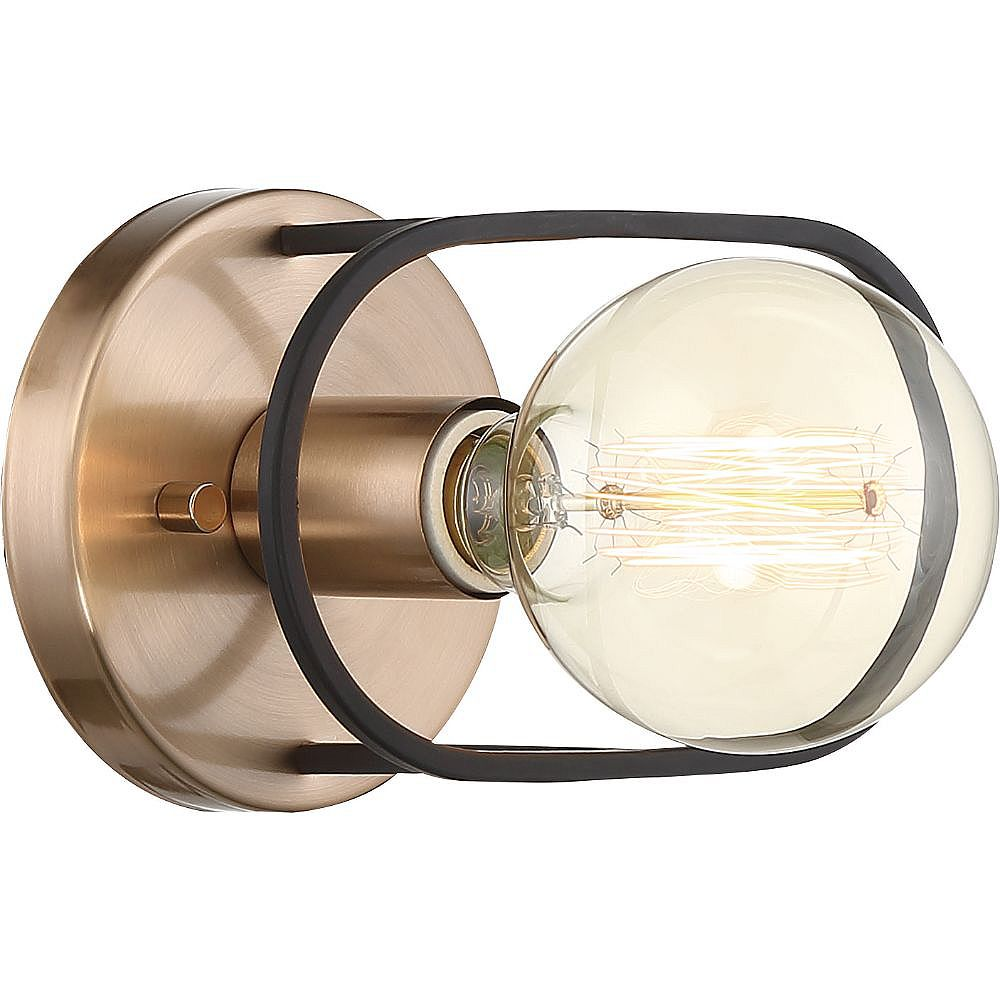 Filament Design 1-Light Copper Brushed Brass and Matte Black Wall Sconce - 4.63 inch
