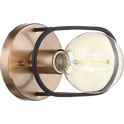 1-Light Copper Brushed Brass and Matte Black Wall Sconce - 4.63 inch