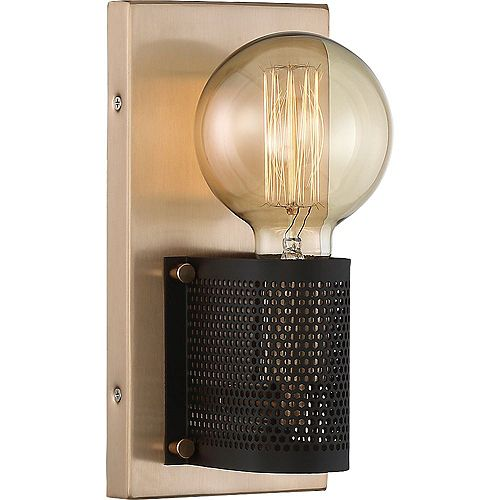 1-Light Copper Brushed Brass and Black Wall Sconce