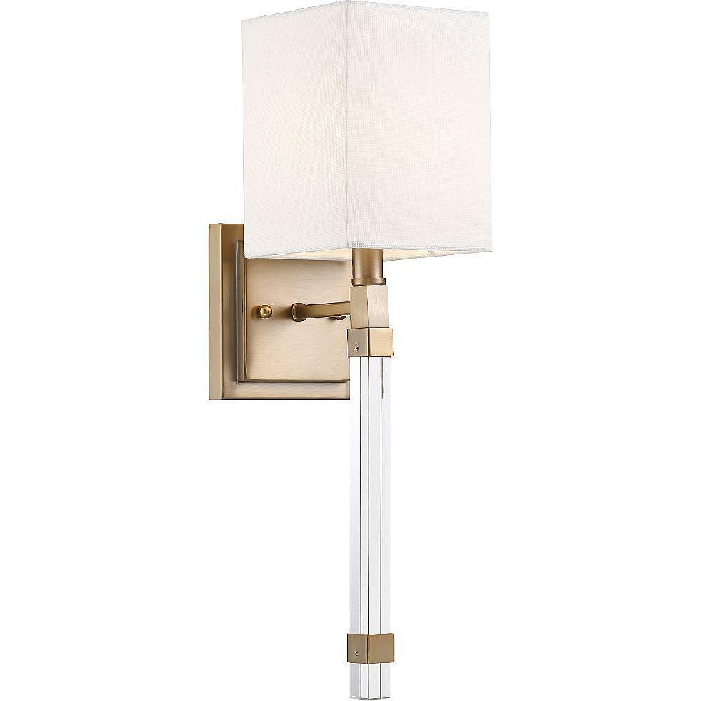 Filament Design Applique murale à 1 ampoule en laiton bruni et blanc - 5 pouces