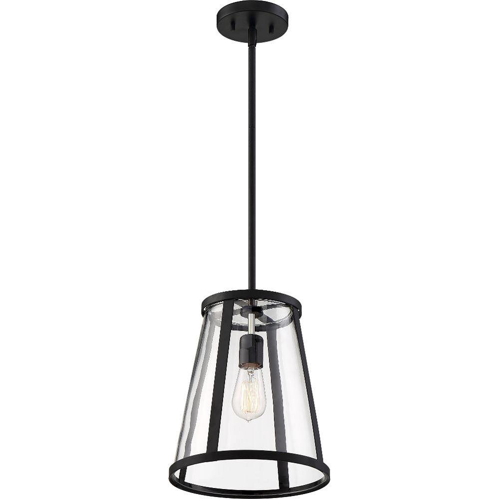 Filament Design 1-Light Matte Black and Clear Pendant - 10.5 inch