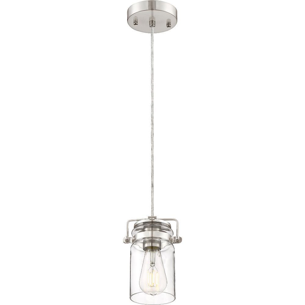 Filament Design Luminaire suspendu à 1 ampoule nickel brossé et transparent