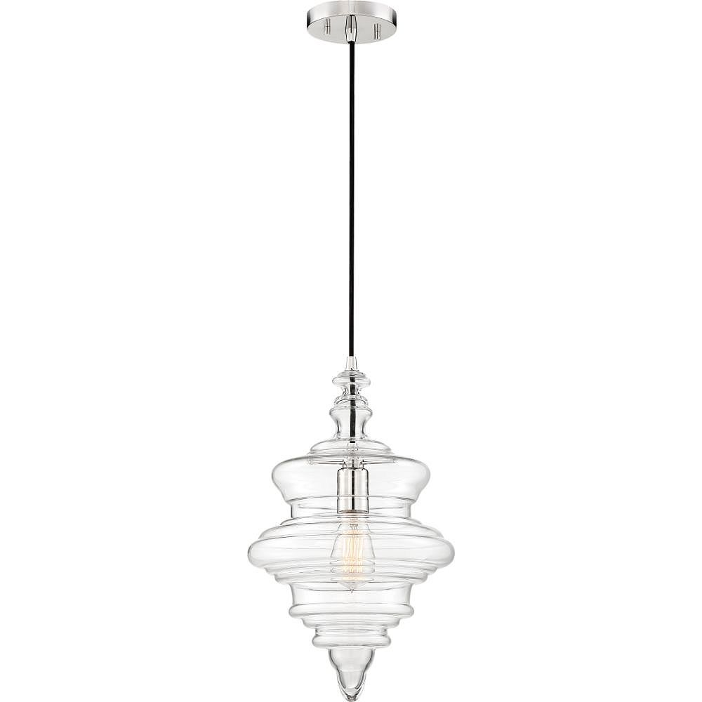 Filament Design 1-Light Polished Nickel and Clear Pendant - 11 inch