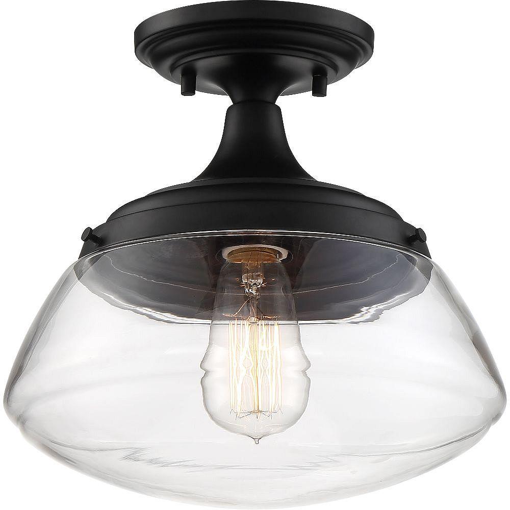 Filament Design 1-Light Aged Bronze and Clear Semi-Flush Mount