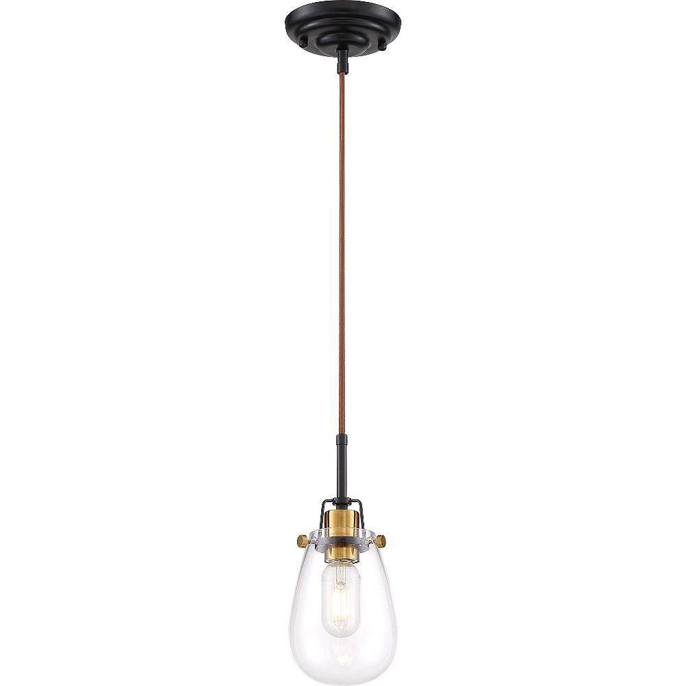 Filament Design 1-Light Black and Vintage Brass Accents Pendant