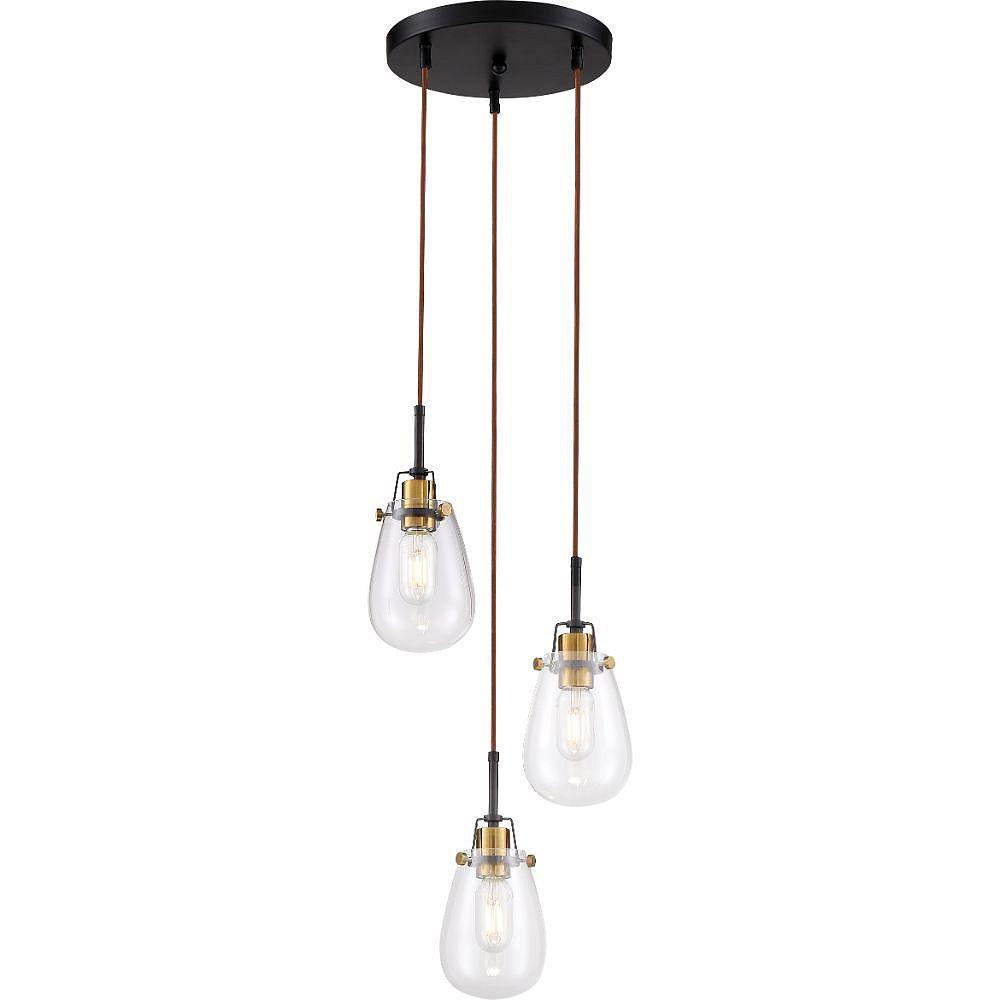Filament Design 3-Light Black and Vintage Brass Accents Chandelier