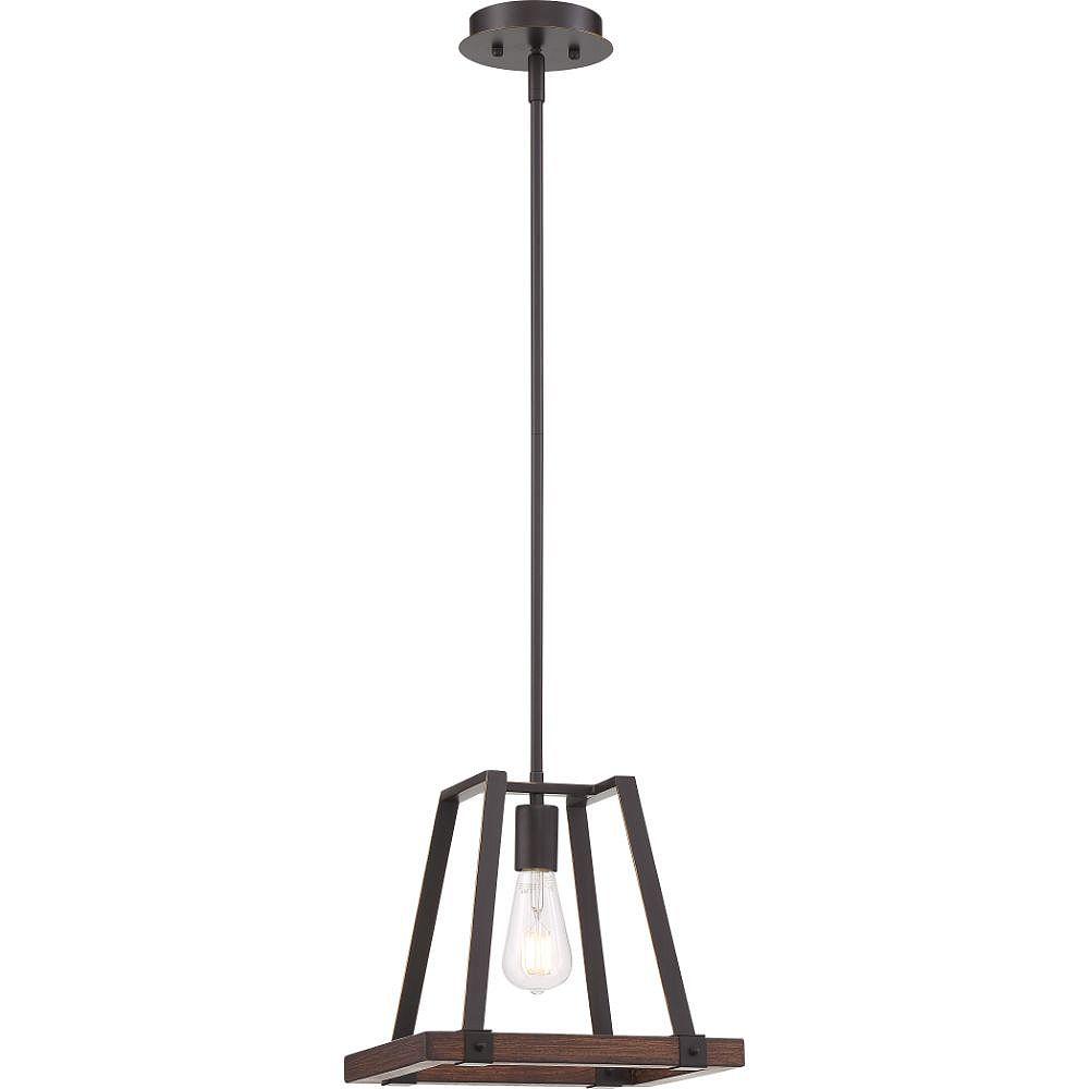 Filament Design 1-Light Mahogany Bronze and Nutmeg Wood Pendant