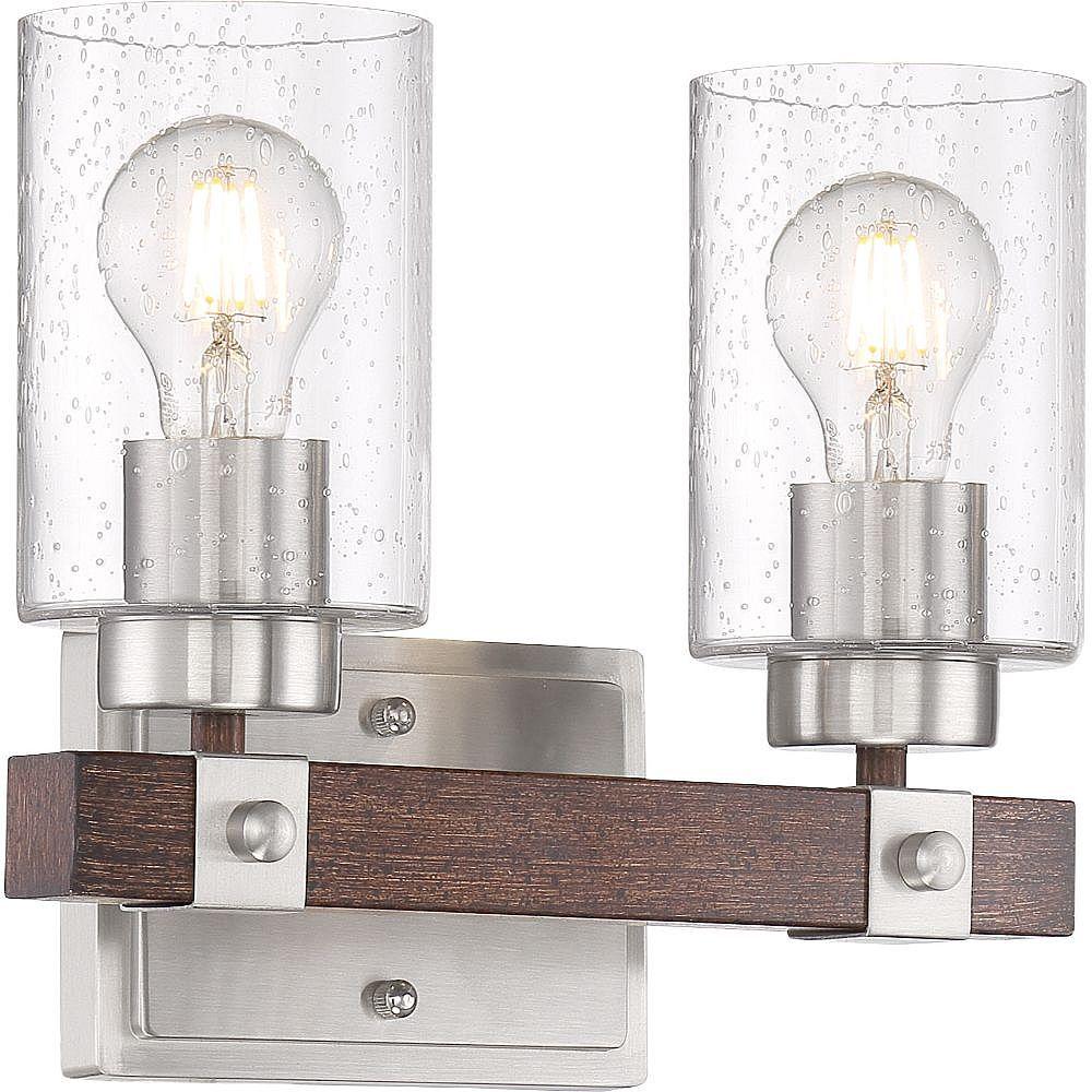 Filament Design Applique de salle de bain à 2 ampoules au fini nickel brossé et noix de muscade