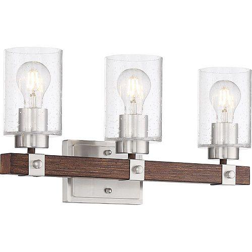 Filament Design Applique de salle de bain à 3 ampoules au fini nickel brossé et noix de muscade